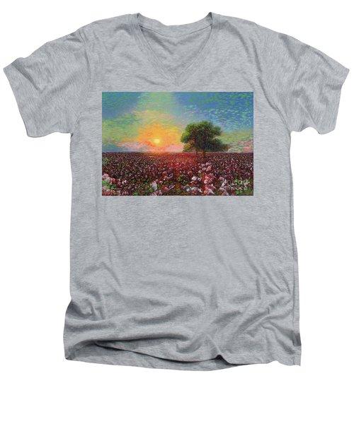 Cotton Field Sunset Men's V-Neck T-Shirt
