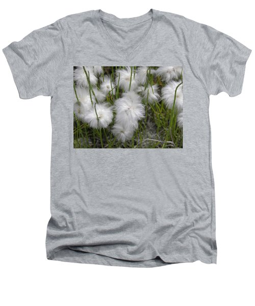 Men's V-Neck T-Shirt featuring the photograph Cottongrass by Fran Riley