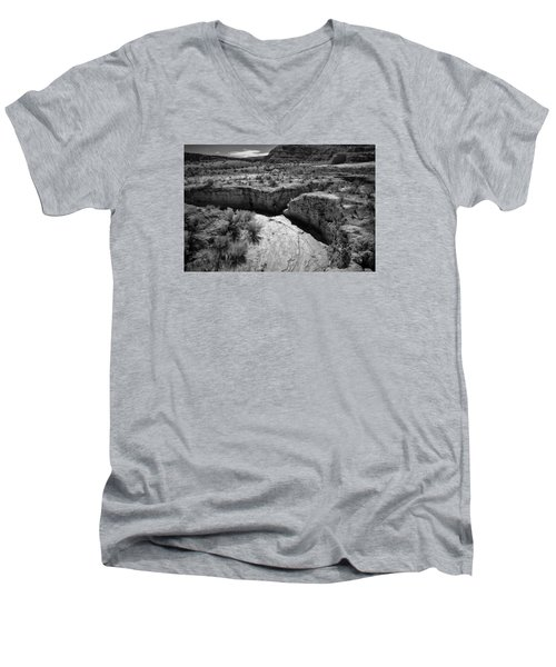 Cottonwood Creek Water Drainage 1 Bw Men's V-Neck T-Shirt