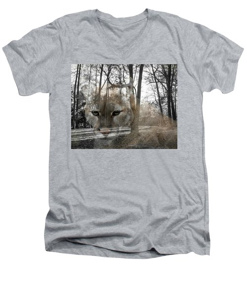 Cougar The Cunning One Men's V-Neck T-Shirt