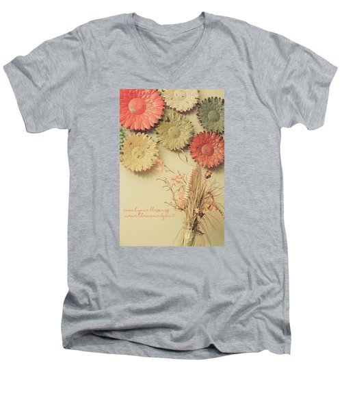 Count Your Blessings Men's V-Neck T-Shirt by Bonnie Bruno