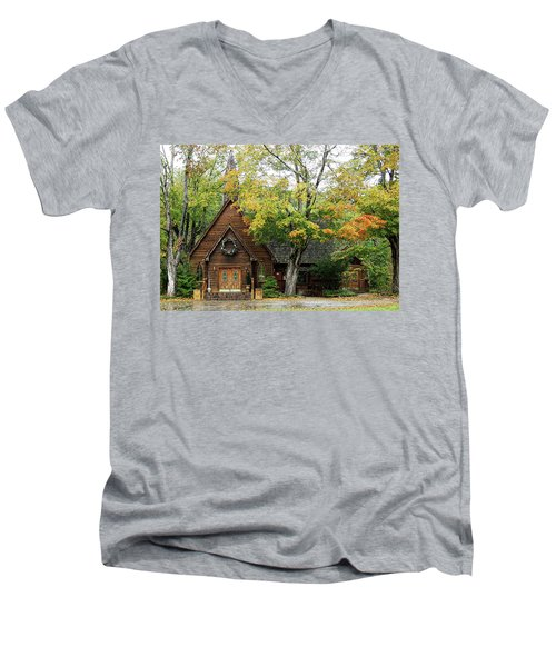 Country Chapel Men's V-Neck T-Shirt by Jerry Battle