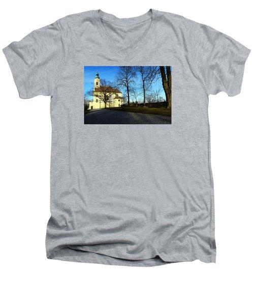 Country Church Men's V-Neck T-Shirt by Christian Slanec