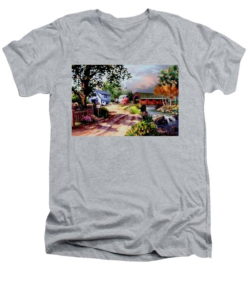 Country Covered Bridge Men's V-Neck T-Shirt by Ron Chambers