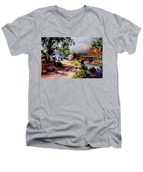 Country Covered Bridge Men's V-Neck T-Shirt