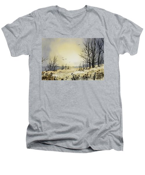 Men's V-Neck T-Shirt featuring the painting Country Dawn by James Williamson