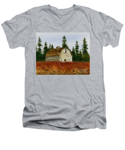 Men's V-Neck T-Shirt featuring the painting Country Landscape by James Williamson
