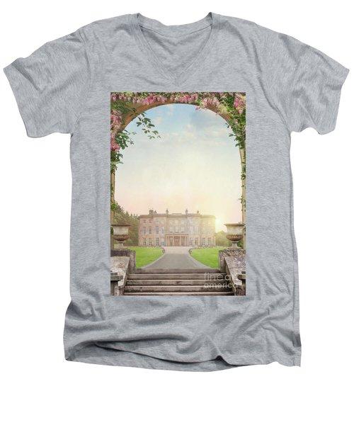 Country Mansion At Sunset Men's V-Neck T-Shirt by Lee Avison