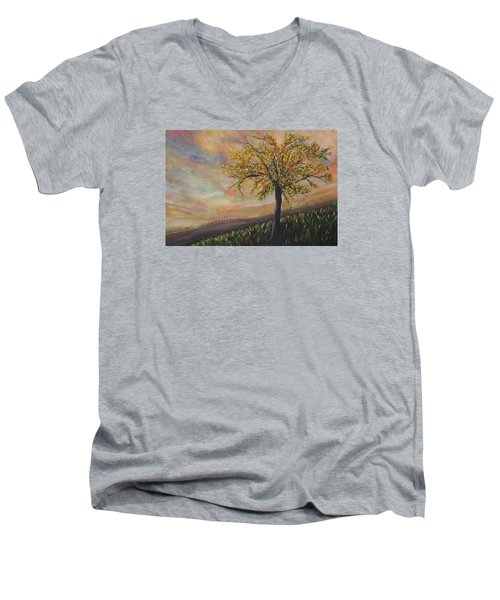 Country Morn Men's V-Neck T-Shirt by Roberta Rotunda