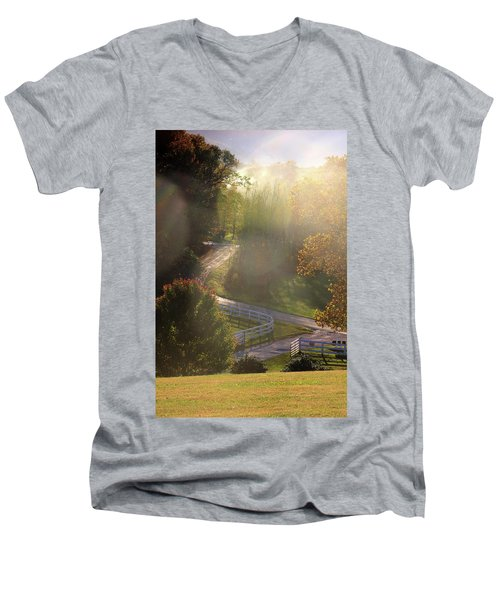 Country Road In Rural Virginia, With Trees Changing Colors In Autumn Men's V-Neck T-Shirt by Emanuel Tanjala