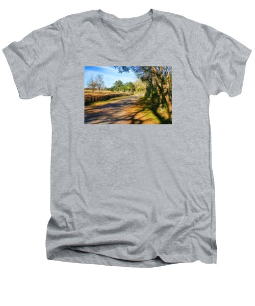 Men's V-Neck T-Shirt featuring the photograph Country Road by Joan Bertucci