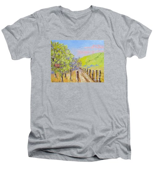 Country Road Pallet Knife Men's V-Neck T-Shirt by Lisa Boyd
