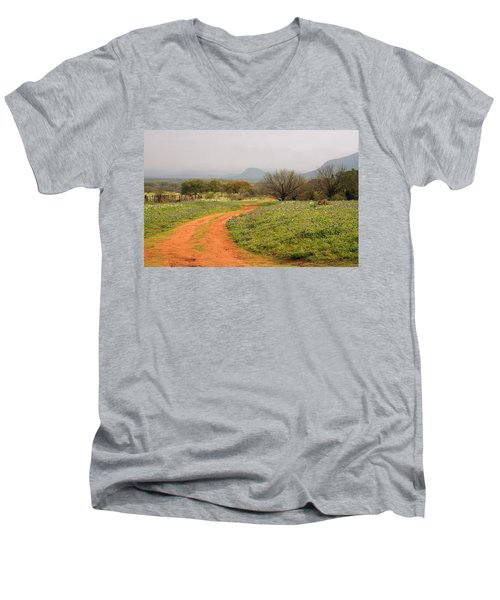 Country Road With Wild Flowers Men's V-Neck T-Shirt