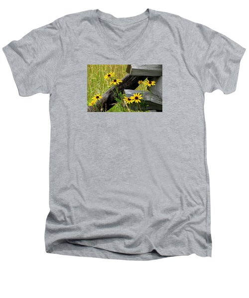 Country Roads Men's V-Neck T-Shirt by Angela Davies