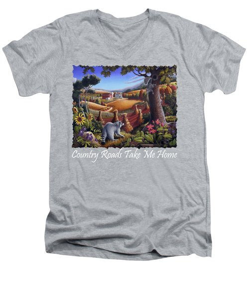 Country Roads Take Me Home T Shirt - Coon Gap Holler - Appalachian Country Landscape 2 Men's V-Neck T-Shirt by Walt Curlee