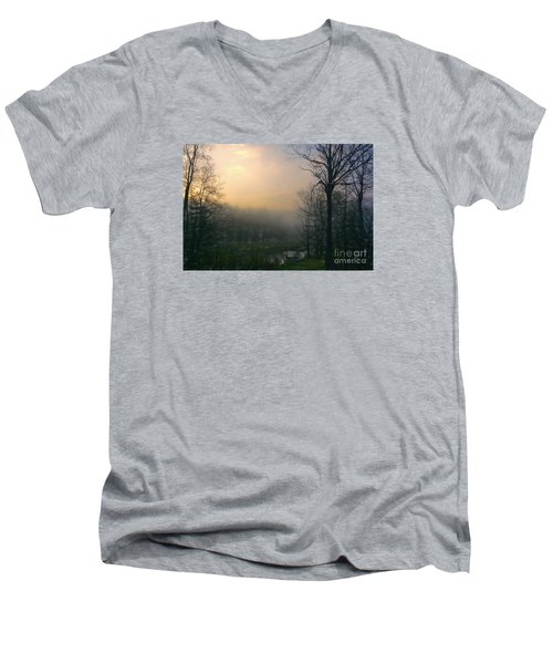 Men's V-Neck T-Shirt featuring the photograph Country Sketch by Mim White