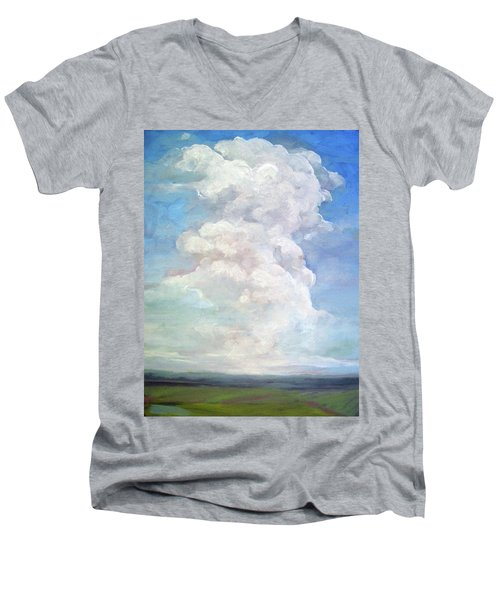 Men's V-Neck T-Shirt featuring the painting Country Sky - Painting by Linda Apple
