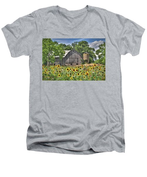 Country Sunflowers Men's V-Neck T-Shirt by Lori Deiter