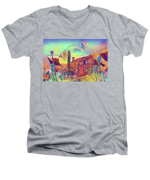 Country Villa Nestled In A Field Of Poppies Men's V-Neck T-Shirt