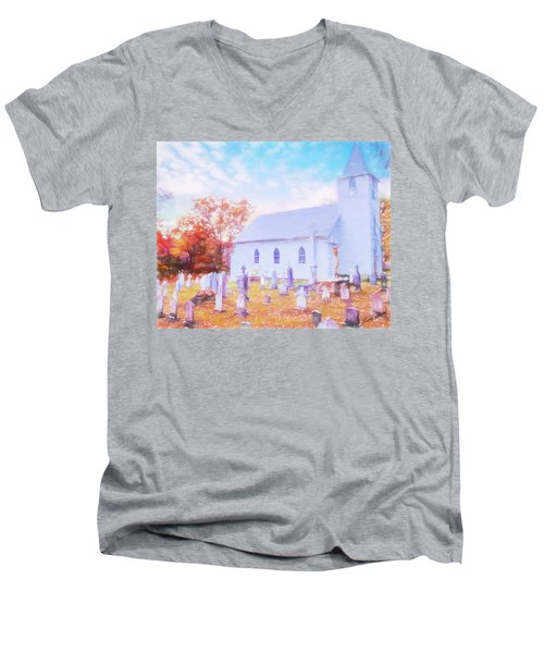Country White Church And Old Cemetery. Men's V-Neck T-Shirt