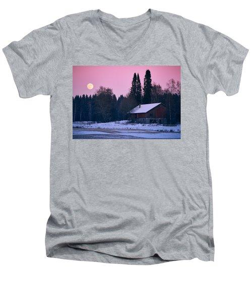 Countryside Full Moon Scenery Men's V-Neck T-Shirt