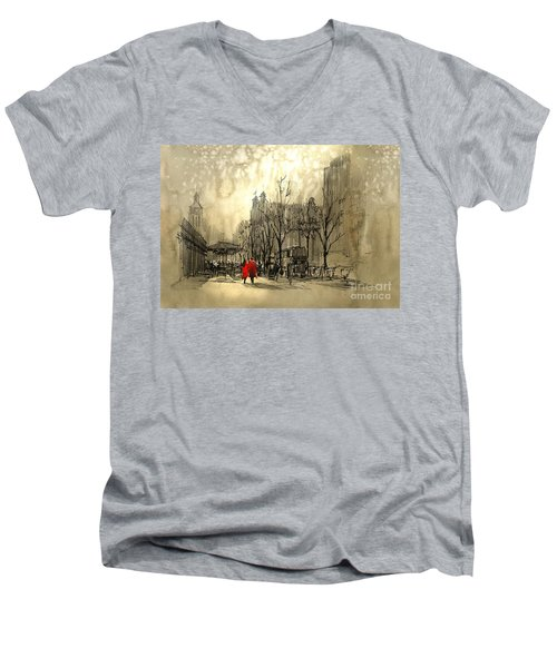 Couple In City Men's V-Neck T-Shirt