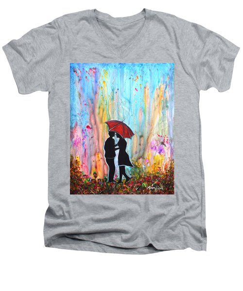 Couple On A Rainy Date Romantic Painting For Valentine Men's V-Neck T-Shirt
