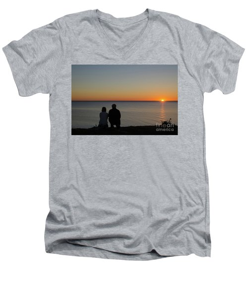 Men's V-Neck T-Shirt featuring the photograph Couple Silhouettes By Sunset by Kennerth and Birgitta Kullman