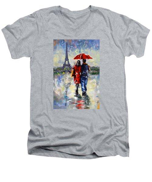 couple walking in the rain Paris Men's V-Neck T-Shirt