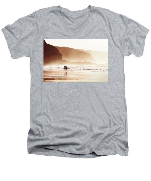 Couple Walking On Beach With Fog Men's V-Neck T-Shirt