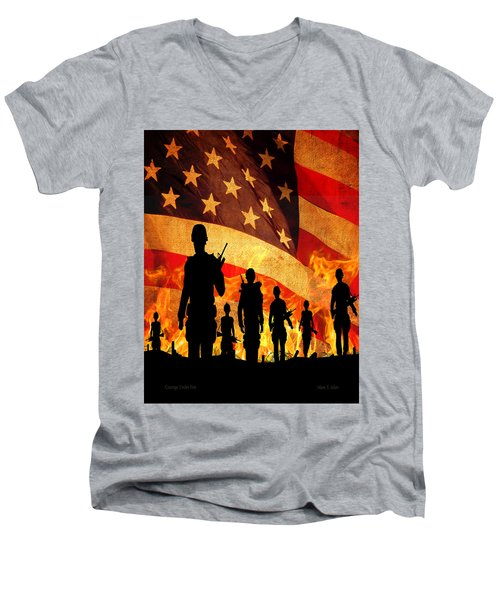 Men's V-Neck T-Shirt featuring the photograph Courage Under Fire by Mark Allen