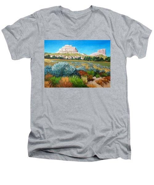 Courthouse And Jail Rocks Acrylic Men's V-Neck T-Shirt
