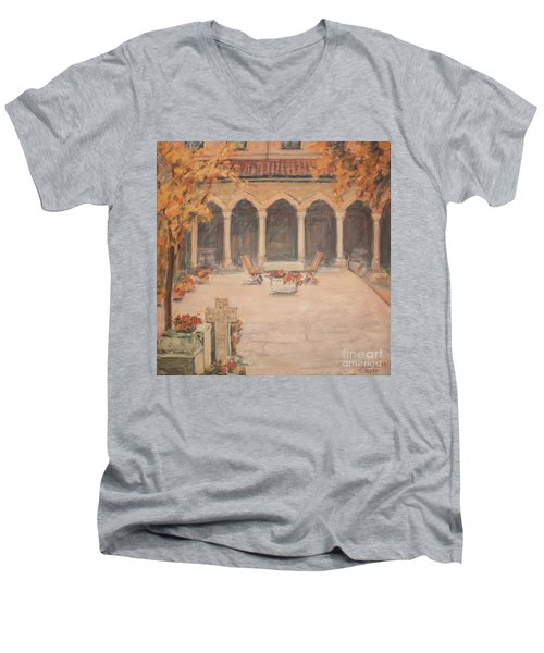 Men's V-Neck T-Shirt featuring the painting Courtyard Of Stravopoleos Church by Olimpia - Hinamatsuri Barbu