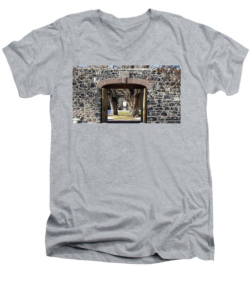 Men's V-Neck T-Shirt featuring the photograph Cove Fort, Utah by Cynthia Powell