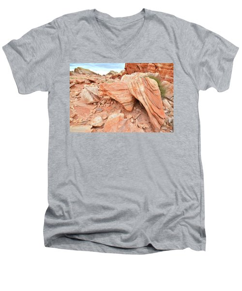 Men's V-Neck T-Shirt featuring the photograph Cove Of Sandstone Shapes In Valley Of Fire by Ray Mathis