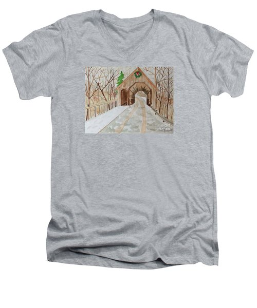 Men's V-Neck T-Shirt featuring the painting Covered Bridge by Denise Tomasura