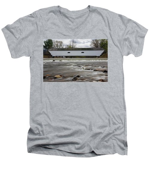 Covered Bridge In March Men's V-Neck T-Shirt