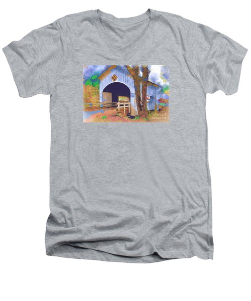 Covered Bridge In Watercolor Men's V-Neck T-Shirt