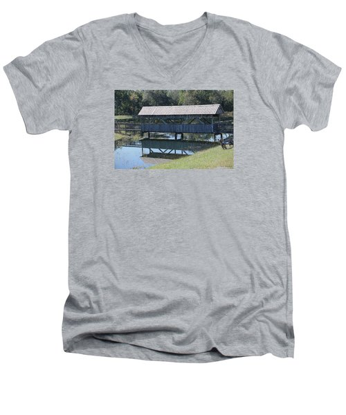 Men's V-Neck T-Shirt featuring the photograph Covered Bridge Painting by Debra     Vatalaro