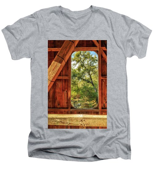 Men's V-Neck T-Shirt featuring the photograph Covered Bridge Window by James Eddy