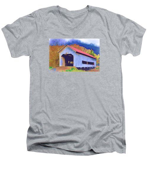 Covered Bridge With Red Roof Men's V-Neck T-Shirt