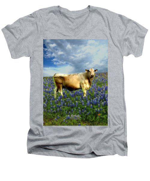 Men's V-Neck T-Shirt featuring the photograph Cow And Bluebonnets by Barbara Tristan