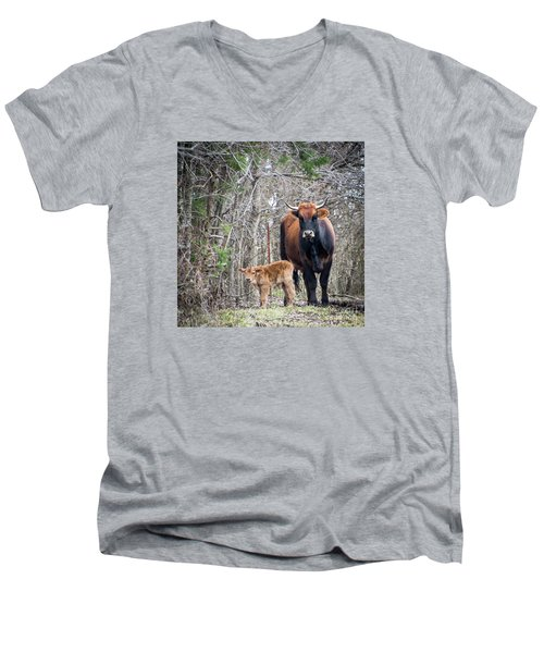 Cow And Calf Men's V-Neck T-Shirt