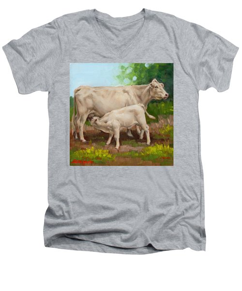 Cow  And Calf In Miniature  Men's V-Neck T-Shirt