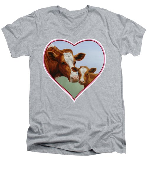 Cow And Calf Pink Heart Men's V-Neck T-Shirt by Crista Forest
