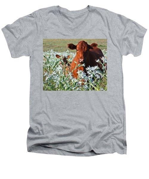 Cow Hide Men's V-Neck T-Shirt by Mark Alder