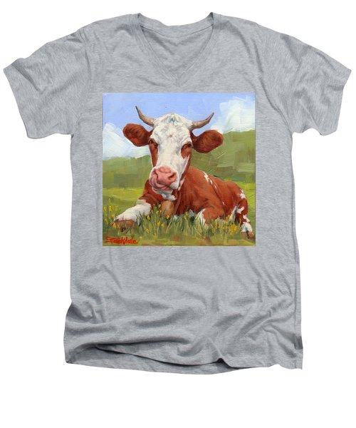 Cow Lick Mini Painting  Men's V-Neck T-Shirt
