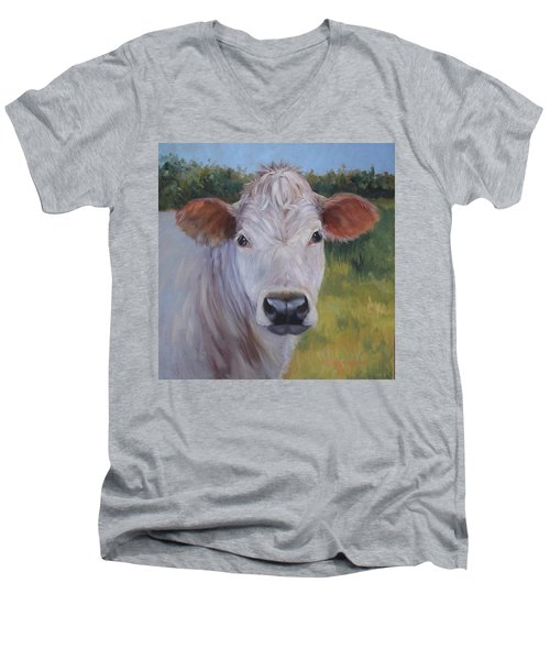 Cow Painting Ms Ivory Men's V-Neck T-Shirt by Cheri Wollenberg