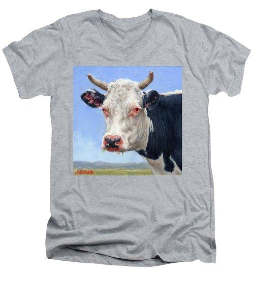 Cow Portrait  Mini Painting Men's V-Neck T-Shirt