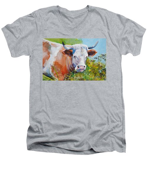 Cow With Horns Men's V-Neck T-Shirt